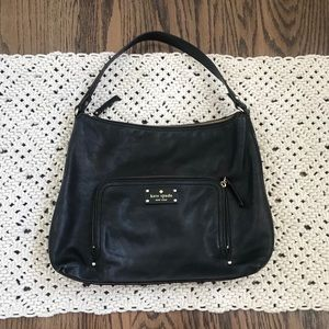 Kate Spade Black Pebble Leather Over Shoulder Bag